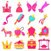Princess Accessories Icons Set. Cartoon Illustration Of 16 Princess Accessories Icons For Web poster