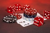 Casino Abstract Photo. Poker Game On Red Background. Theme Of Gambling poster