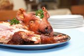 roasted pig head