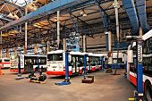 PRAGUE - SEPTEMBER 17: Maintenance of buses in workshop in Hostivar on Open Doors Day on September 1
