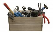 The Wooden Box With The Electricity Tools, Plumbing Tools And Carpentry Tools On A White Background. poster