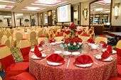 Table setting and decoration in a wedding banquet