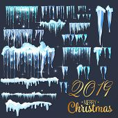 2019 Snow With Icicles And Snow Drifts. Winter Snow Caps With Ice. Set Of Different Blue And White S poster