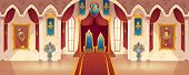 Vector Castle Hall With Two Thrones For King And Queen. Interior Of Ballroom With Guards In Knight A poster