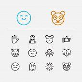 Emoji Icons. Set Of Cute Cat, Anime Kawaii And Love  Sign Symbols.  Illustration Of Man Emoticons Se poster