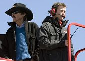 HAMPTON, GA - MAR 5:  Richard Petty and Kasey Kahne stand on top of the Budweiser hauler during prac