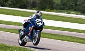 TOPEKA, KS - AUG 2:  AMA Superbike racer, Geoff May, travels through the turns at the Tornado Nationals presented by BriggsAuto.com on Aug 2, 2009 in Topeka, KS.
