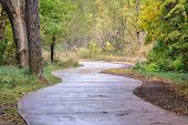 windy bike trail along the Poudre River in Fort Collins, Colorado - rainy day with fall colors poster