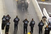 CONCORD, NC - MAR 28:  Brandon Bernstein brings his Copart Top Fuel dragster down the track at the z