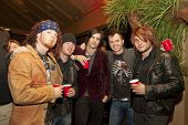 DAYTONA BEACH, FL - FEB 17: The rock group Hinder poses for a photograph before performing at the Ch