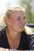 CHARESTON, SC - APR 04: Caroline Wozniacki (DEN) takes questions from the media on April 4, 2011 during All Access Hour at the Family Circle Tennis Center in Charleston, SC