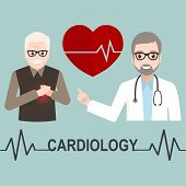 Heart Patient Elderly Male And Doctor With Cardiology Text Illustration, Medicine Sign Icon poster