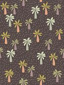 Cute Hand Drawn Palms Vector Pattern. Green Palm Trees On A Brown Background. Short Irregular Lines  poster