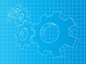 Blueprint background with 3D gears. Solution, teamwork, technology.