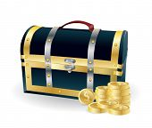 pirates wooden chest with golden coins