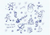 Hand-drawn vector set of Xmas doodles