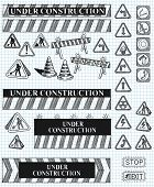 big set of under construction and fire safety doodles.