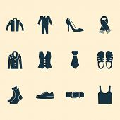 Clothes Icons Set With Sleeveless Tank, Necktie, Gumshoes And Other Singlet Elements. Isolated Vecto poster