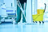 People Clean Flooring And Clean With Lint-free Cloth Towels Or Clean Hospitals In Asia. poster