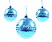 Three Blue Vector Christmas bulbs isolated on white background