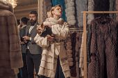 Date, Couple, Love, Man And Woman. Fashion And Beauty, Winter. Woman In Fur Coat With Man, Shopping, poster