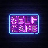 Self Care Neon Sign Vector. Motivational Feel Good Design Template Neon Sign, Light Banner, Neon Sig poster