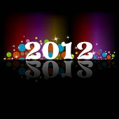 2012 New Year celebration background for cover, poster & temp lets in rainbow colors, stars, colorful circles.