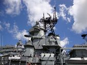 Uss Missouri Radar And Satellite Towers At Midship