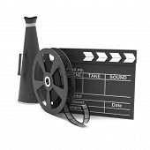 Movie clapper and film strip and megaphone