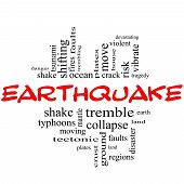 picture of vibration plate  - Earthquake Word Cloud Concept in red and black letters with great terms such as shake tremble plates earth land and more - JPG