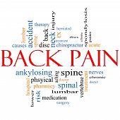 stock photo of vertebrae  - Back Pain Word Cloud Concept with great terms such as injury lumbar spine treatment discs and more - JPG