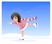 illustration of a cute small girl ice skating