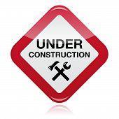 Under construction red warning sign