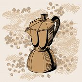 Sketch Of Mocha Coffee Maker With Some Coffee Beans