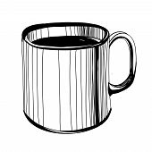 Black And White Sketch Of  Coffee Or Tea Or Caffee Mug