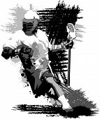 stock photo of lax  - Graphic Vector Image of a Lacrosse Player Running with a Lacrosse Stick - JPG