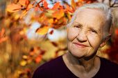 image of stroll  - Portrait of the smiling elderly woman - JPG