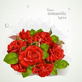 Bouquet of red roses with a field for your lyrics.  banner