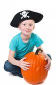 Pirate With Pumpkin - Halloween Theme