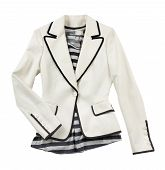 pic of blazer  - Fashion composition of white blazer with striped t - JPG