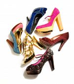 pic of peep-toes  - High heels fashion composition on white background - JPG