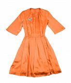 Satin Tangerine Evase Pleated Dress With Diamonds Brooch