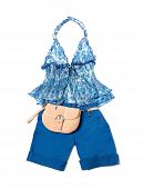Open Front Tie Empire Line Porcelain Pattern Halter Klein Shorts Styling Fashion Composition