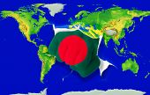 Fist In Color  National Flag Of Bangladesh    Punching World Map