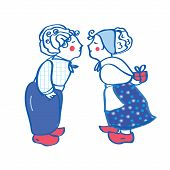 Delft blue kissing pair card