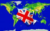 Fist In Color  National Flag Of United Kingdom    Punching World Map