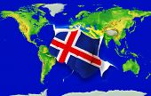 Fist In Color  National Flag Of Iceland    Punching World Map