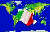 Fist In Color  National Flag Of Italy    Punching World Map