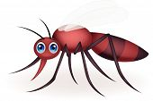 stock photo of gnat  - Vector illustration of Mosquito cartoon isolated on white background - JPG