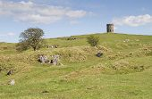 Rocky Hills With Solomons Temple Or Grinlow Tower In Buxton, Derbyshire Peak District